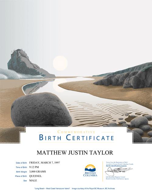 Commemorative Birth Certificates Province Of British Columbia