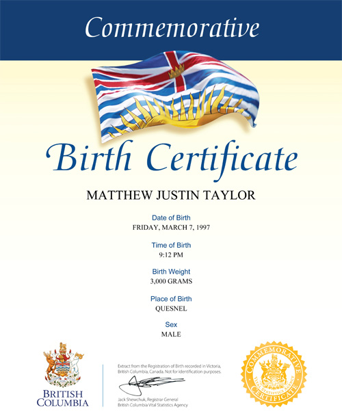 Commemorative birth certificates province of british columbia certificate samples yadclub Gallery