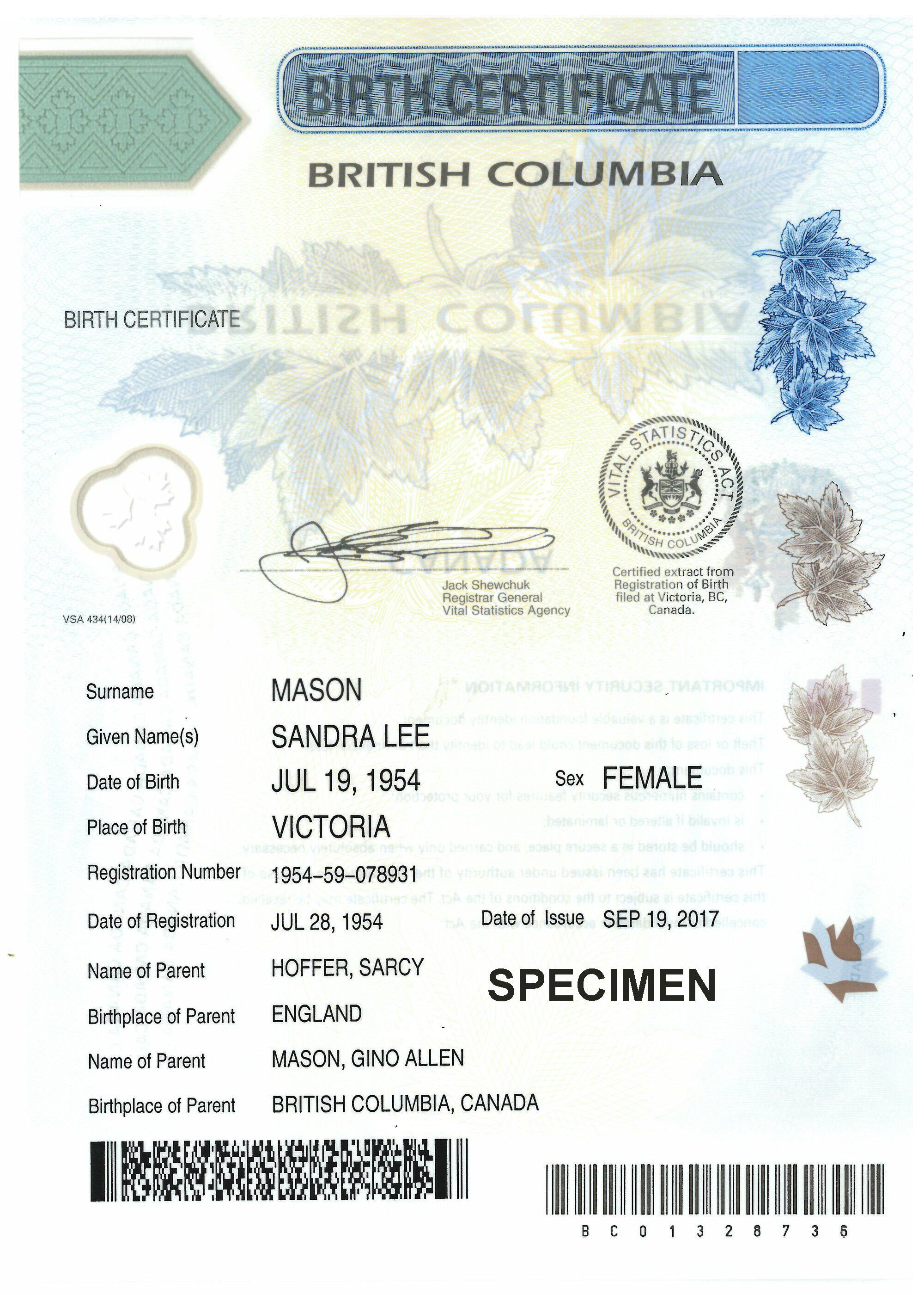 Birth certificates province of british columbia birth certificate with parental information included yadclub