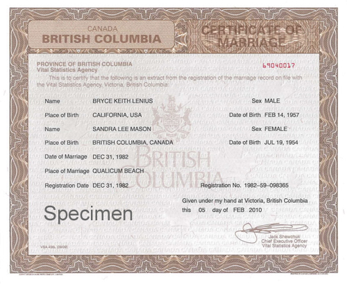 Marriage Certificates - Province Of British Columbia