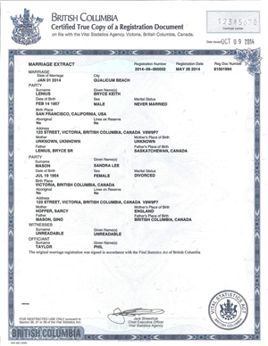 Certified Electronic Extract of a Marriage Registration