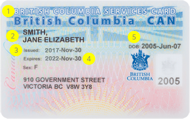 See the front of the Non-Photo BC Services Card