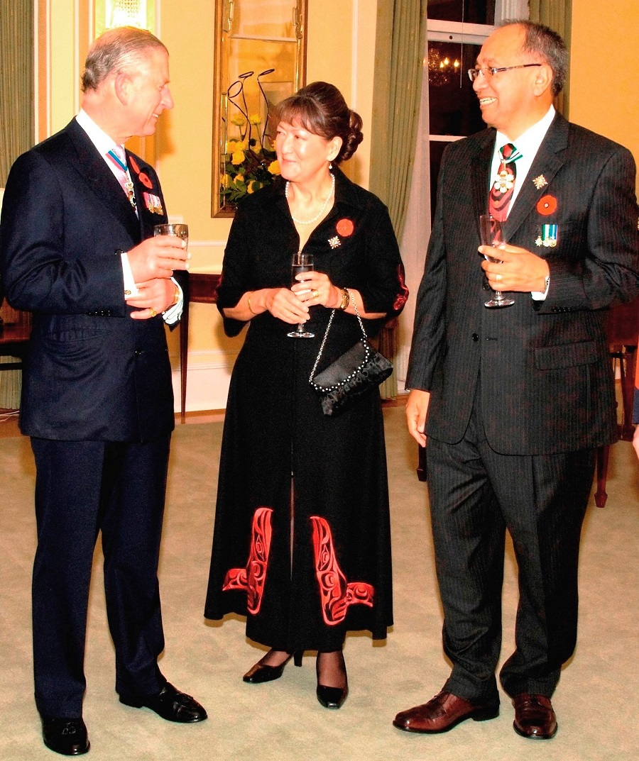 Prince Charles chats with Lieutenant Governor Steven Point and his wife, Gwen at Government House in Victoria