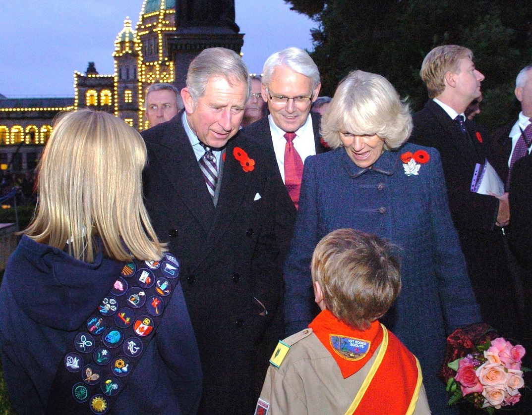 Prince of Wales and Duchess of Cornwall were greeted by children at the B.C. Parliament Buildings