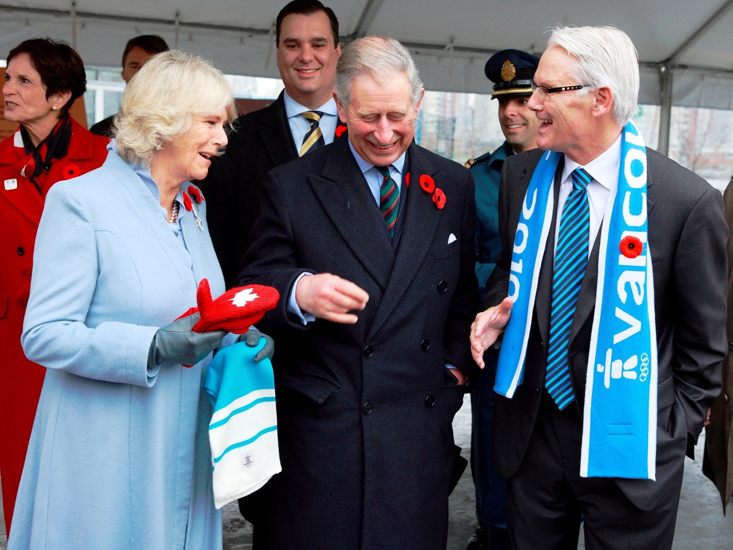Presentation of Vancouver Olympics souvenir mitts and scarves by Premier Gordon Campbell