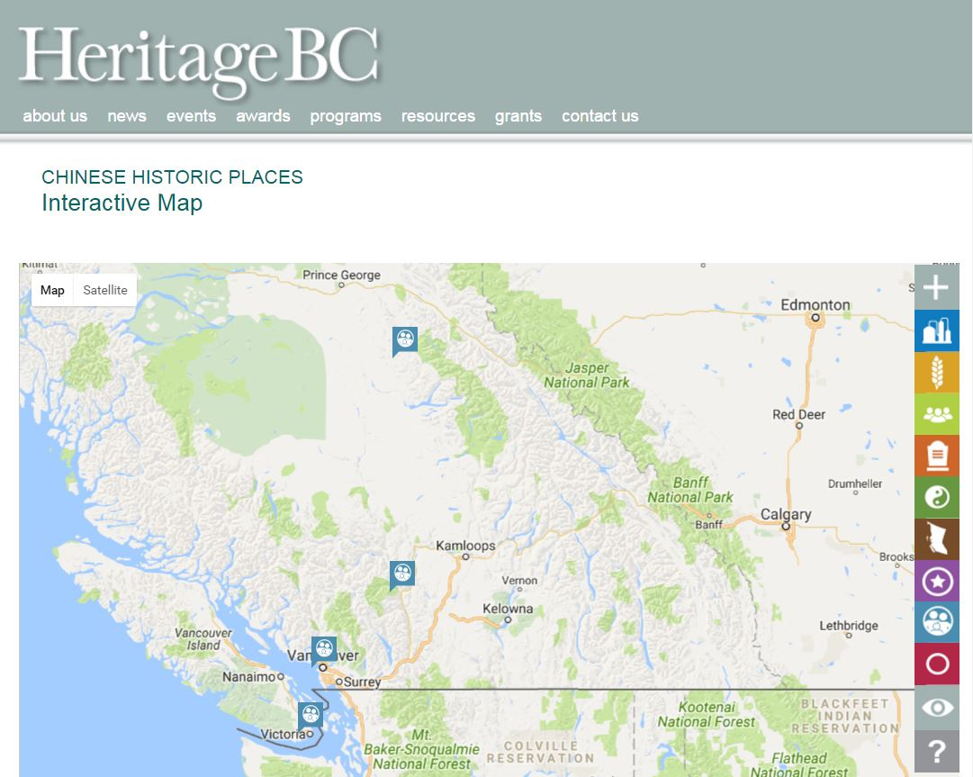 British Columbia's historic clan association buildings map