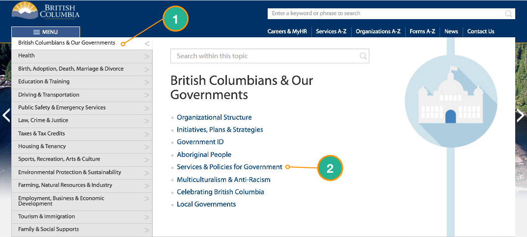This picture explains how to find the BCEA Policy and Procedure Manual from the BC Gov Homepage