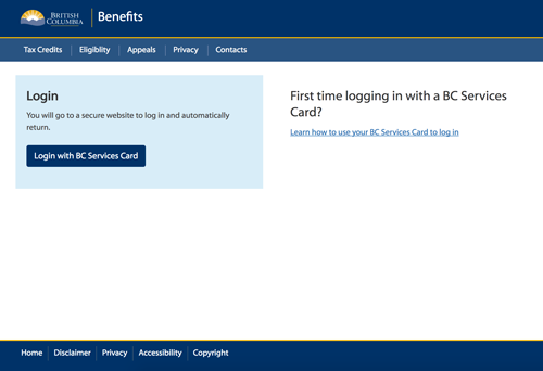 bc services card login launch page