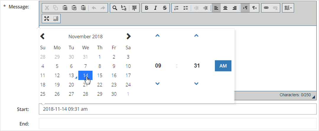 new date selected in the calendar