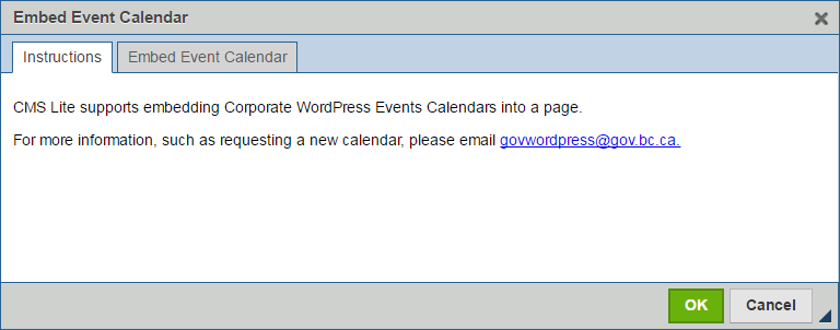 embed event calendar instruction tab
