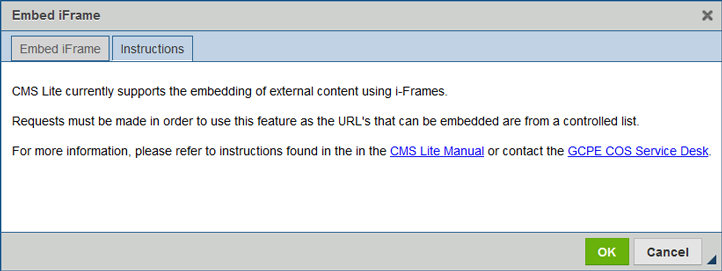 embed iFrame instructions tab
