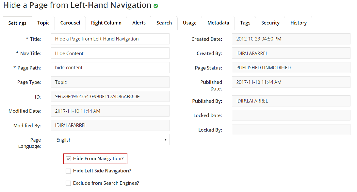 Settings tab with Hide From Navigation checkbox selected