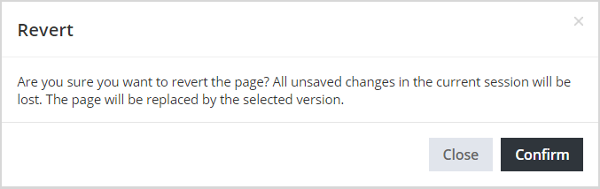 revert page message dialog box