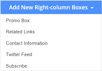 Drop-down list for the Add New Right-column action button