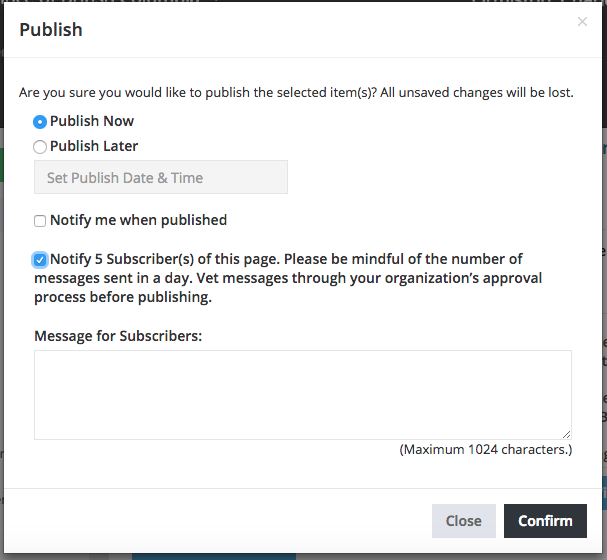 Message for Subscribes field in Publish box