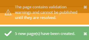 confirmation message displaying number of pages