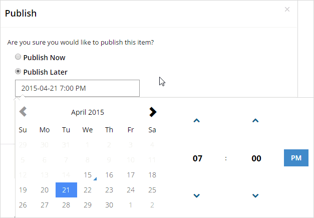 Publish Later with calendar