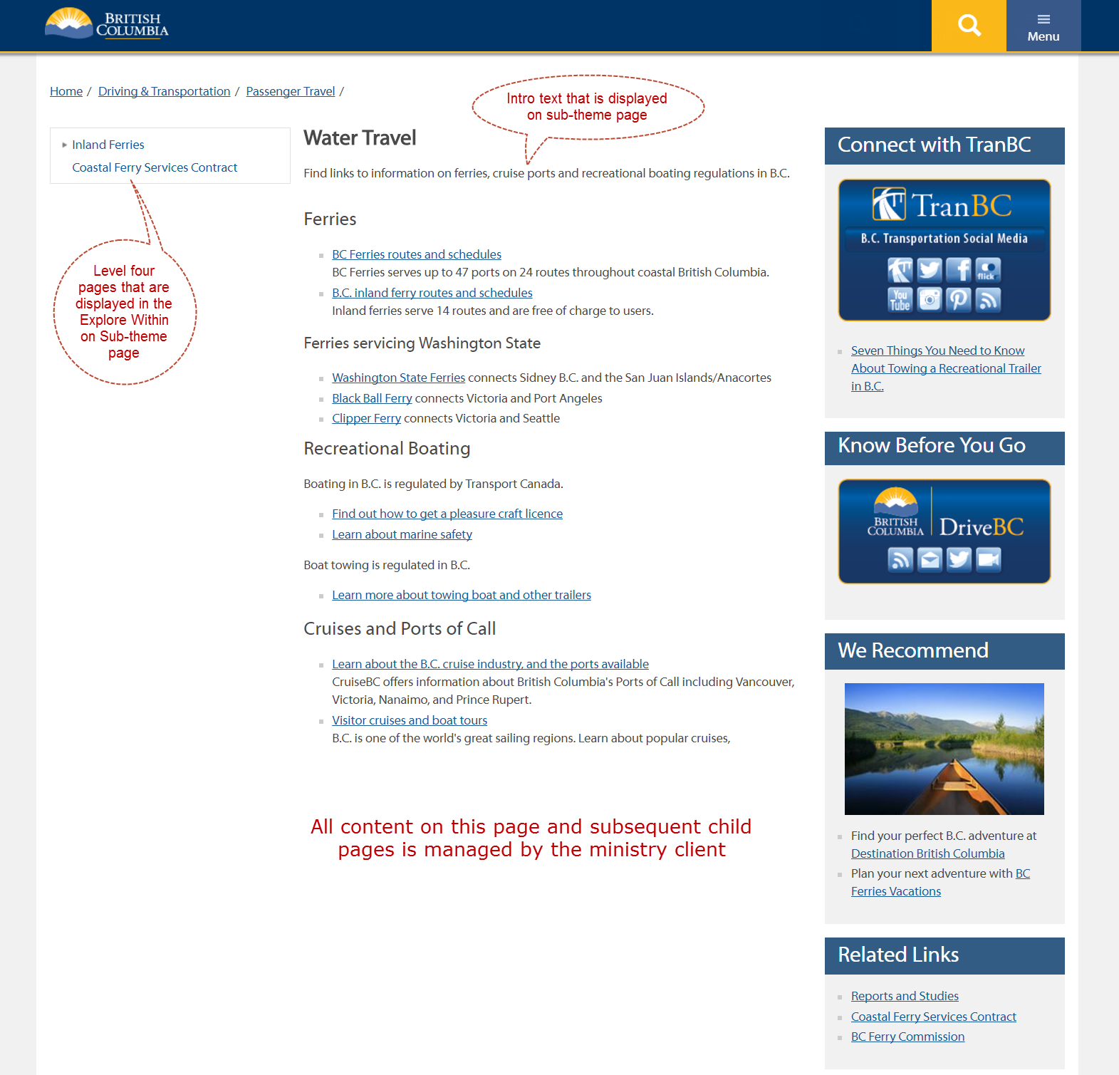 B.C. Government website topic landing page