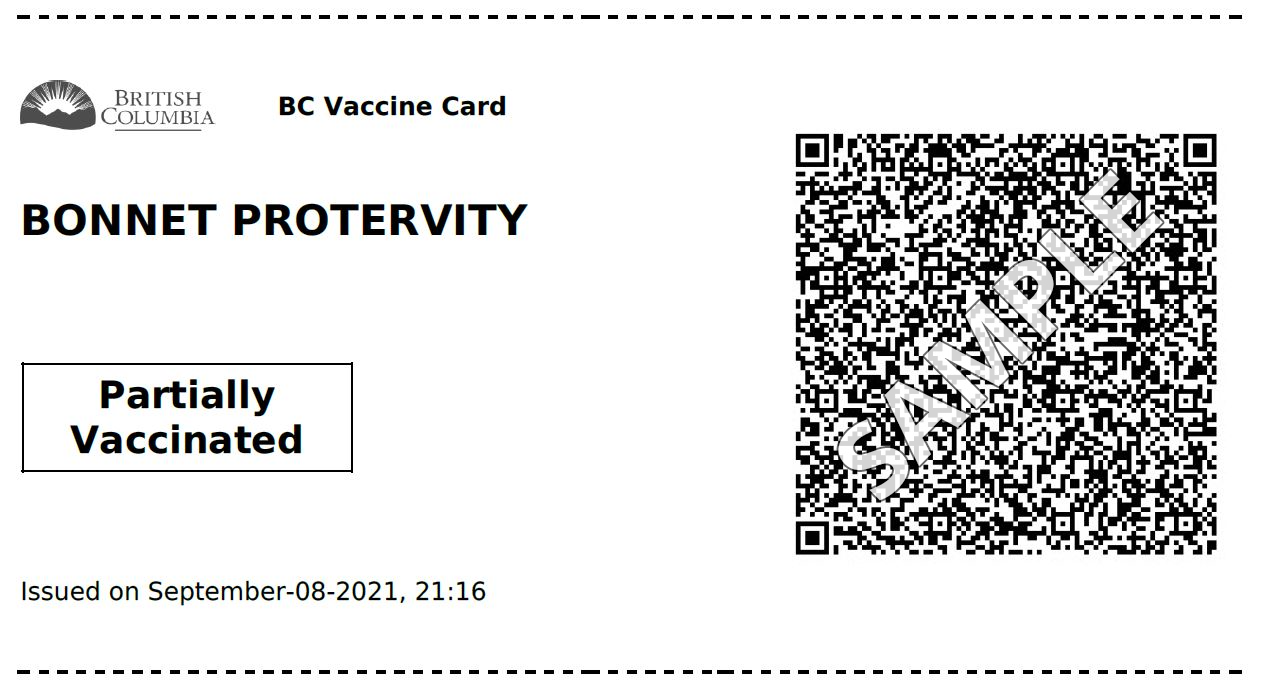 An example of a paper BC Vaccine Card