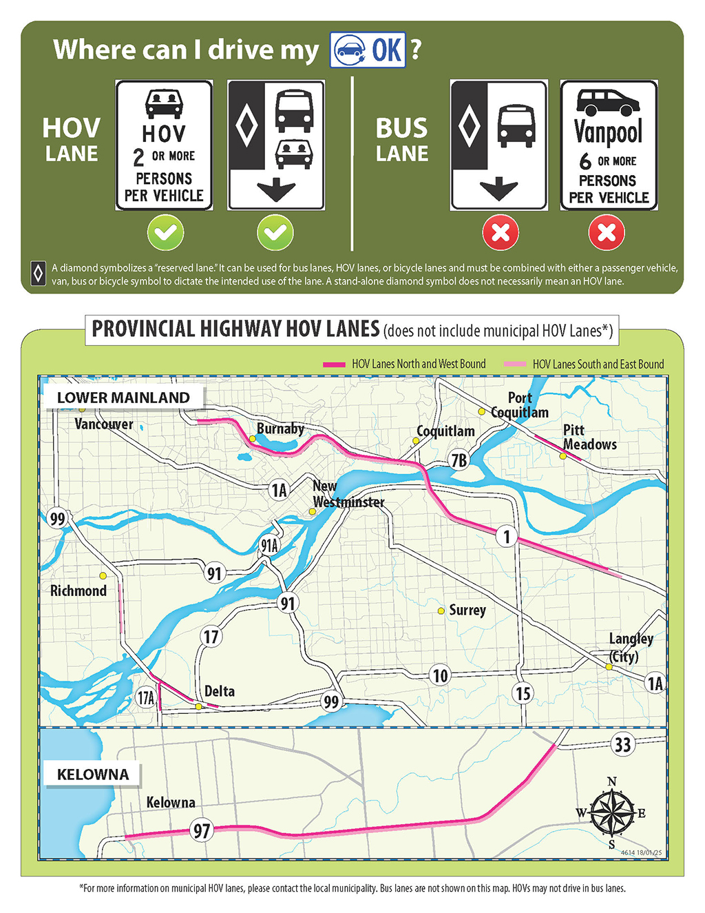 Map of provincial highway HOV lanes eligible for use by electric vehicles