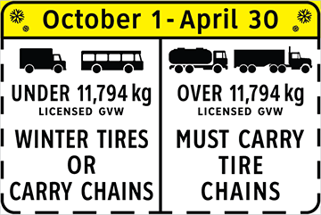 Winter Tire and Chain-up Routes Sign