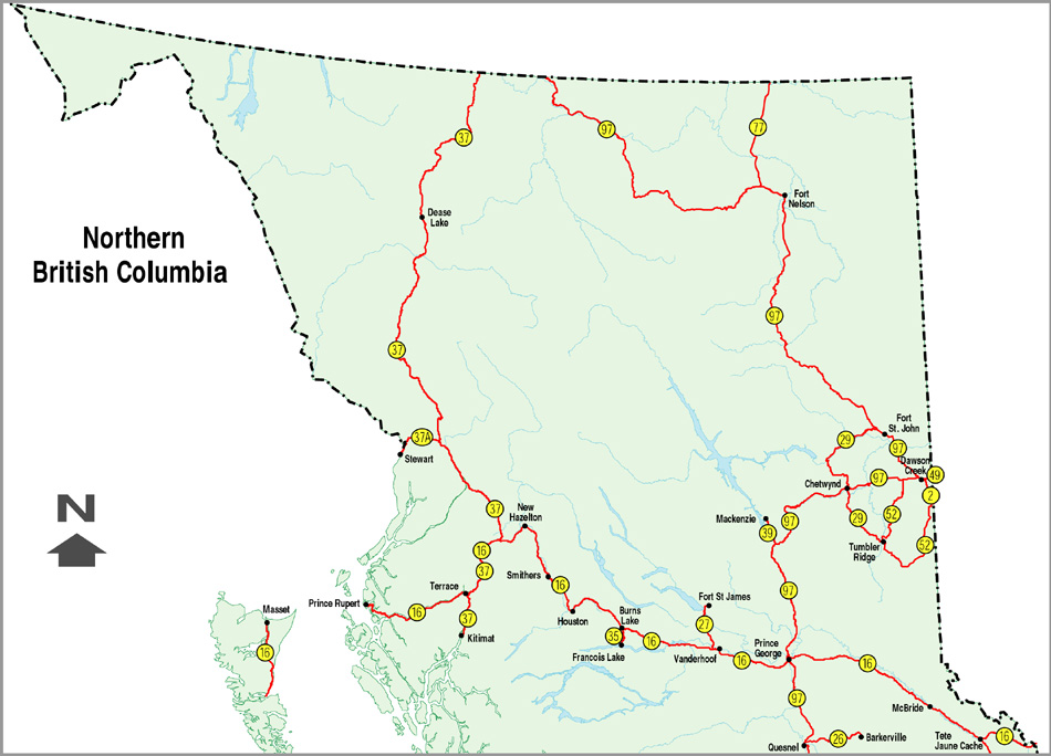 Northern Bc Map Official Numbered Routes in B.C.   Simple Map   Province of  Northern Bc Map