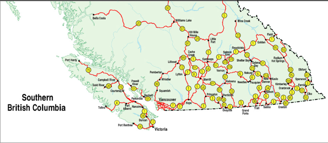 Map Of Southern Bc Official Numbered Routes in B.C.   Simple Map   Province of