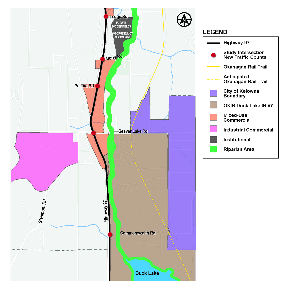 The ministry has begun a planning study to investigate and identify the future transportation needs of Highway 97 between Lodge Road and Duck Lake in Lake Country.
