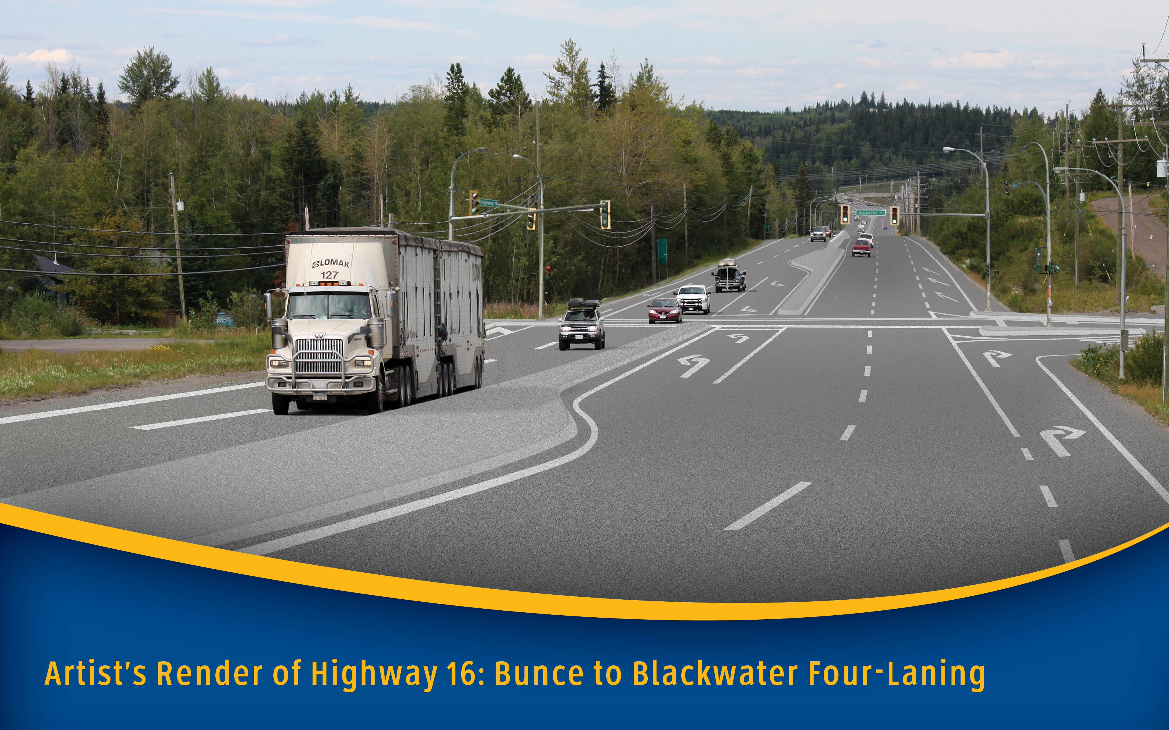 Artist rendering of Bunce Road to Blackwater Road, Highway 16 project