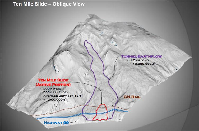 Map Of California Highway 99.Highway 99 Ten Mile Slide Province Of British Columbia
