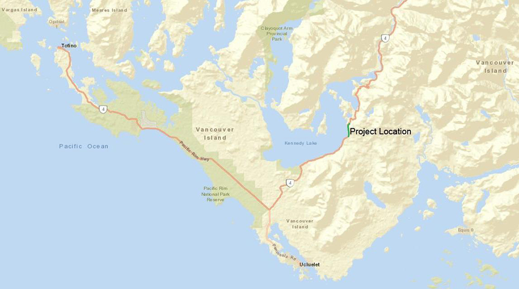 Map of Highway 4 - Kennedy Hill Safety Improvement Project south of Port Alberni