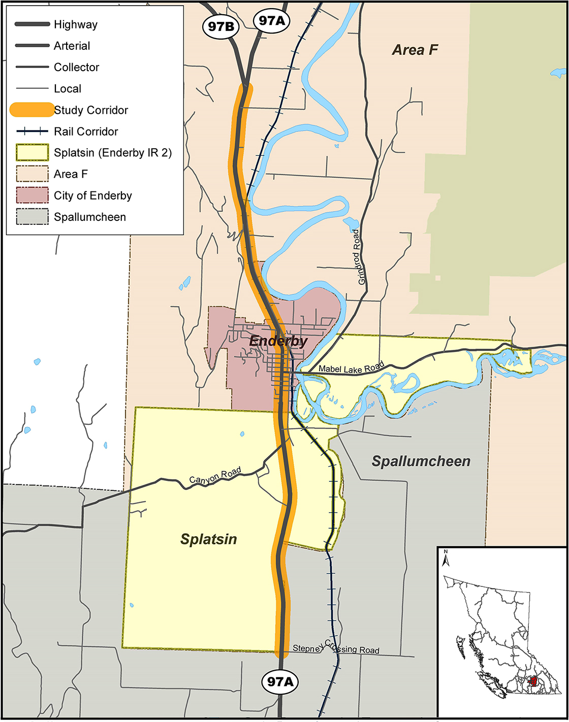 The study is examining the Highway 97A corridor through the City of Enderby and Splatsin IR#2 between Stepney Cross Road and the Highway 97A/97B junction.