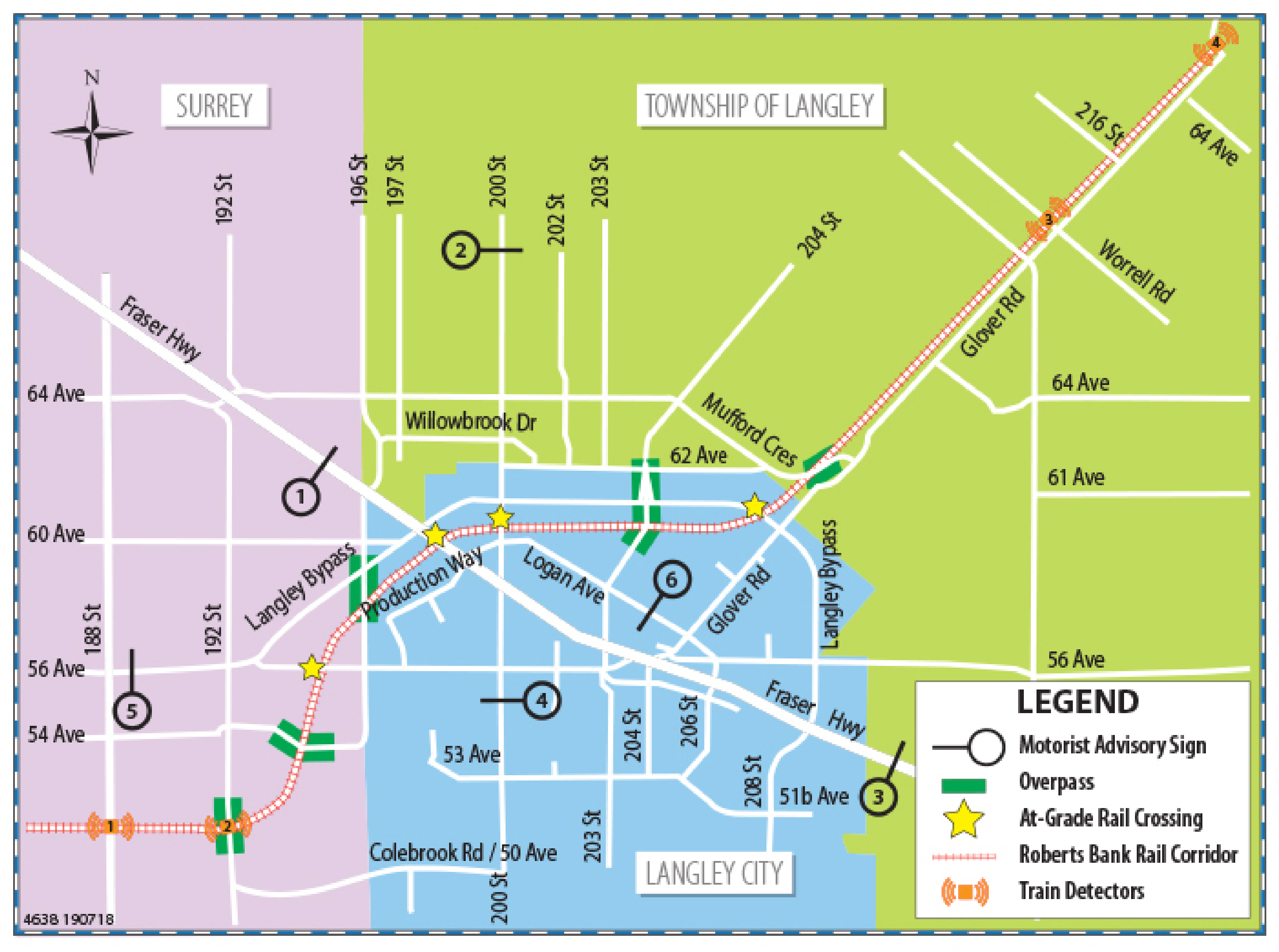 Map of Motorist Advisory Sign Location