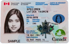 Sample Canadian Permanent Resident Card