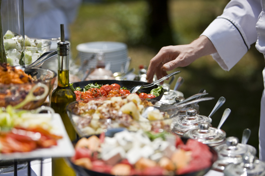 Catering buffet with fresh food