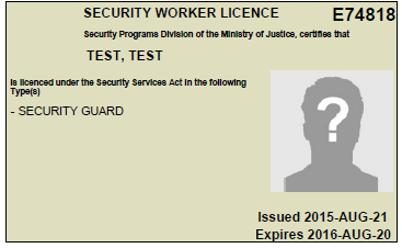 Security Industry Licensing - Province of British Columbia