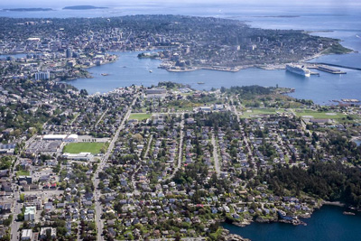 Aerial view of downtown Victoria B.C.