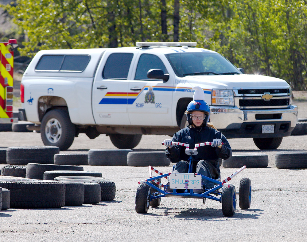 Teenager riding a go-kart