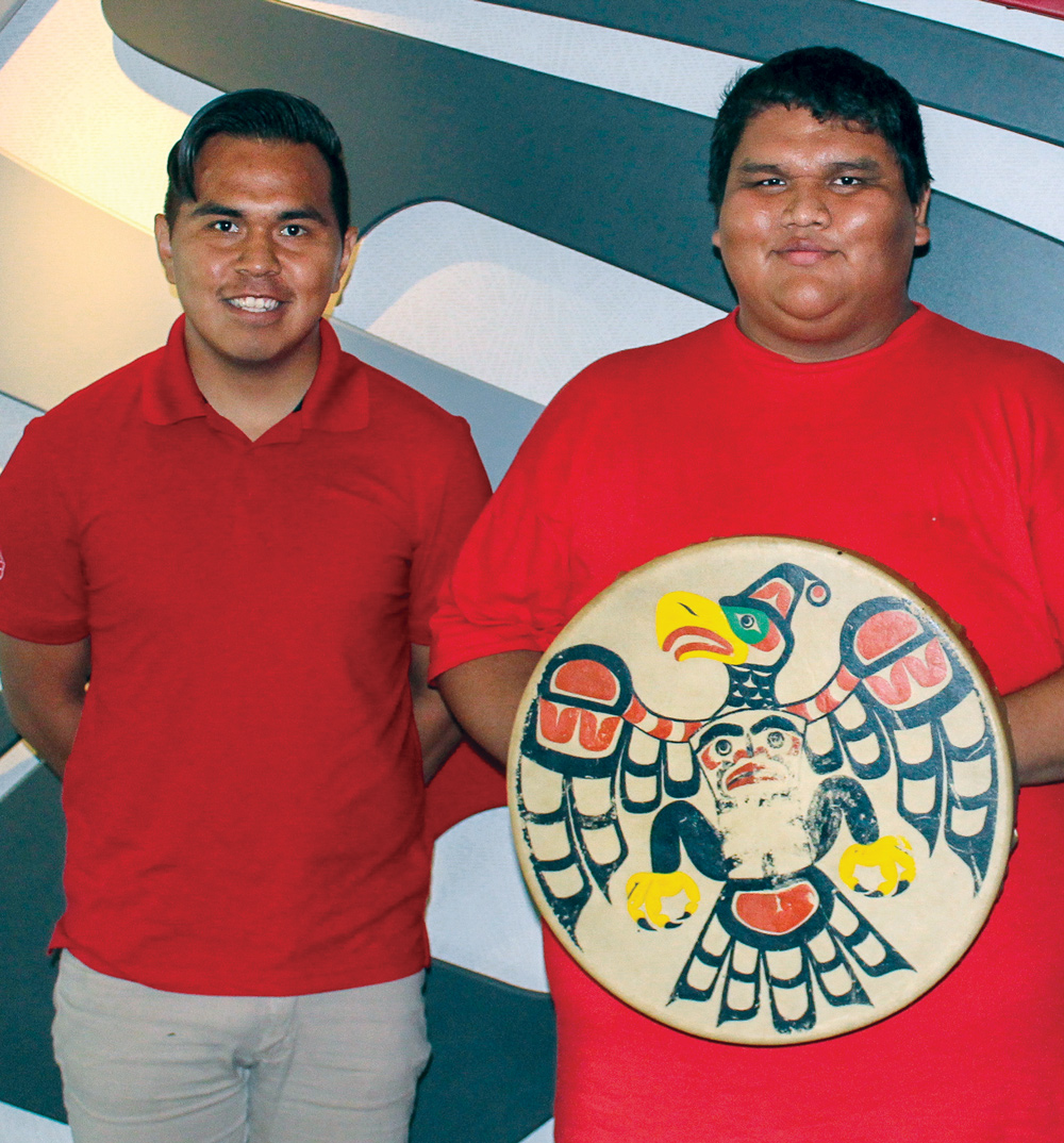 Thomas Coon and Walter Brown of Gwa'sala-'Nakwaxda'xw Nations host drum-making workshops