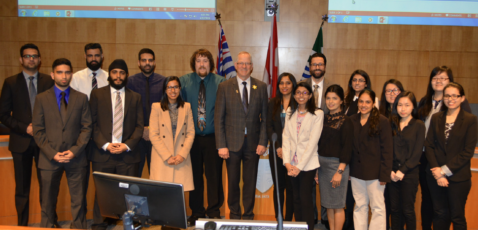 Kwantlen students with Langley Mayor