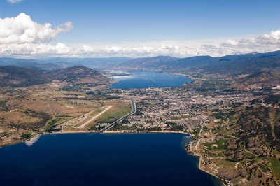 Aerial view of the city of Penticton