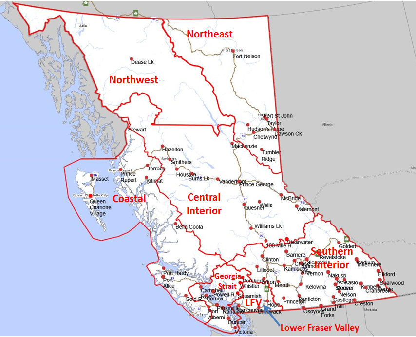 Air Zone Map Province Of British Columbia - British columbia map
