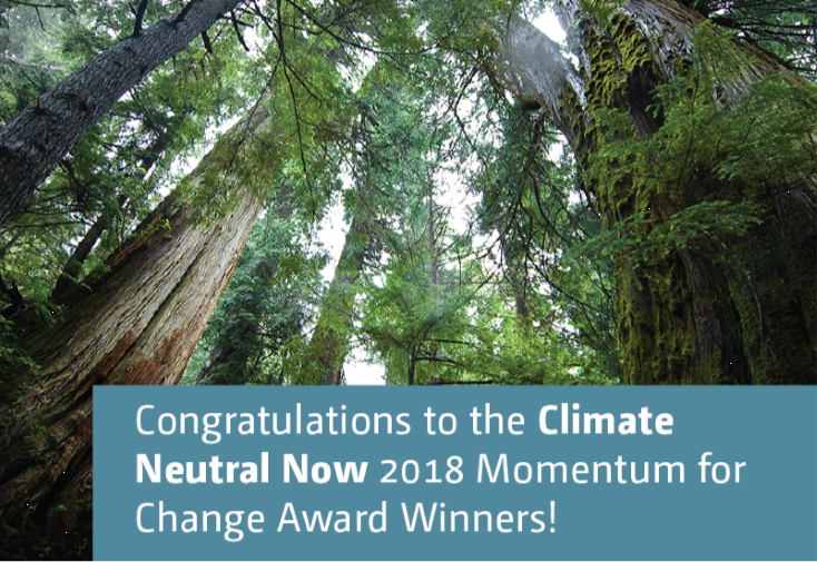Congratulations to the Climate Neutral Now 2018 Momentum for Change Award Winners