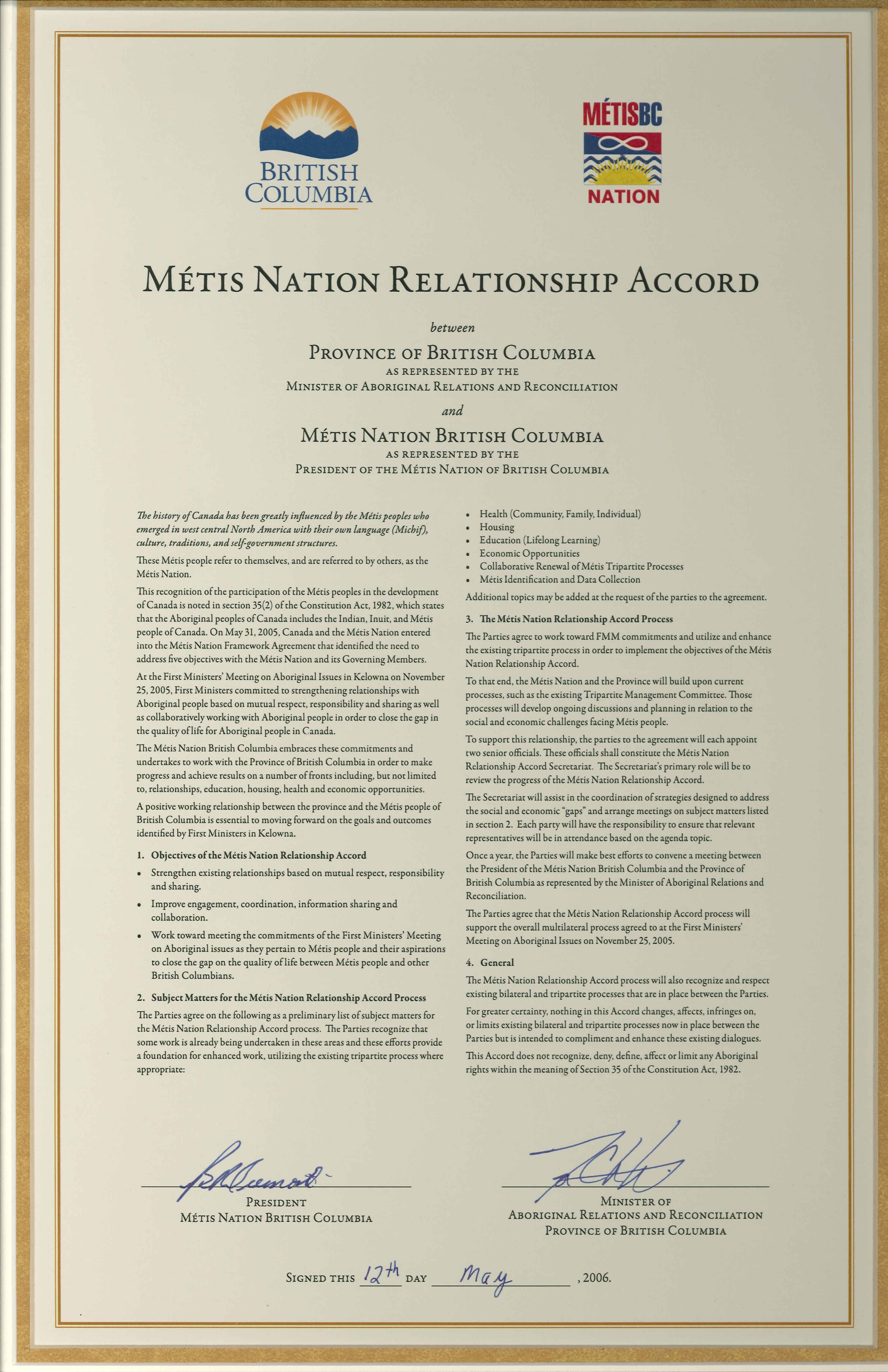 Métis Nation Relationship Accord