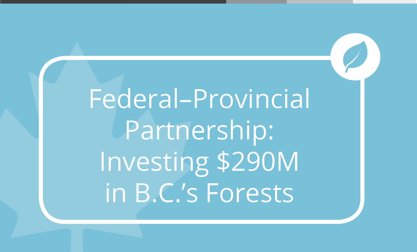 Canada and British Columbia are investing $290 million in the Forest Carbon Initiative