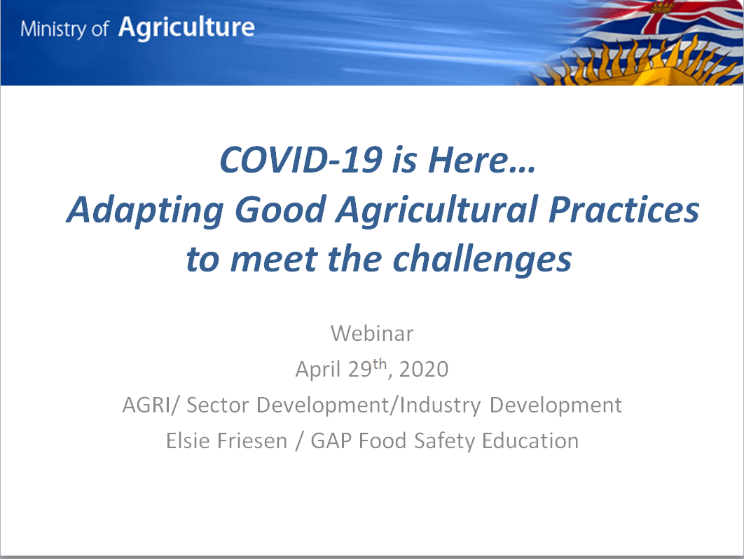 Rethinking Good Agricultural Practices in the time of COVID-19