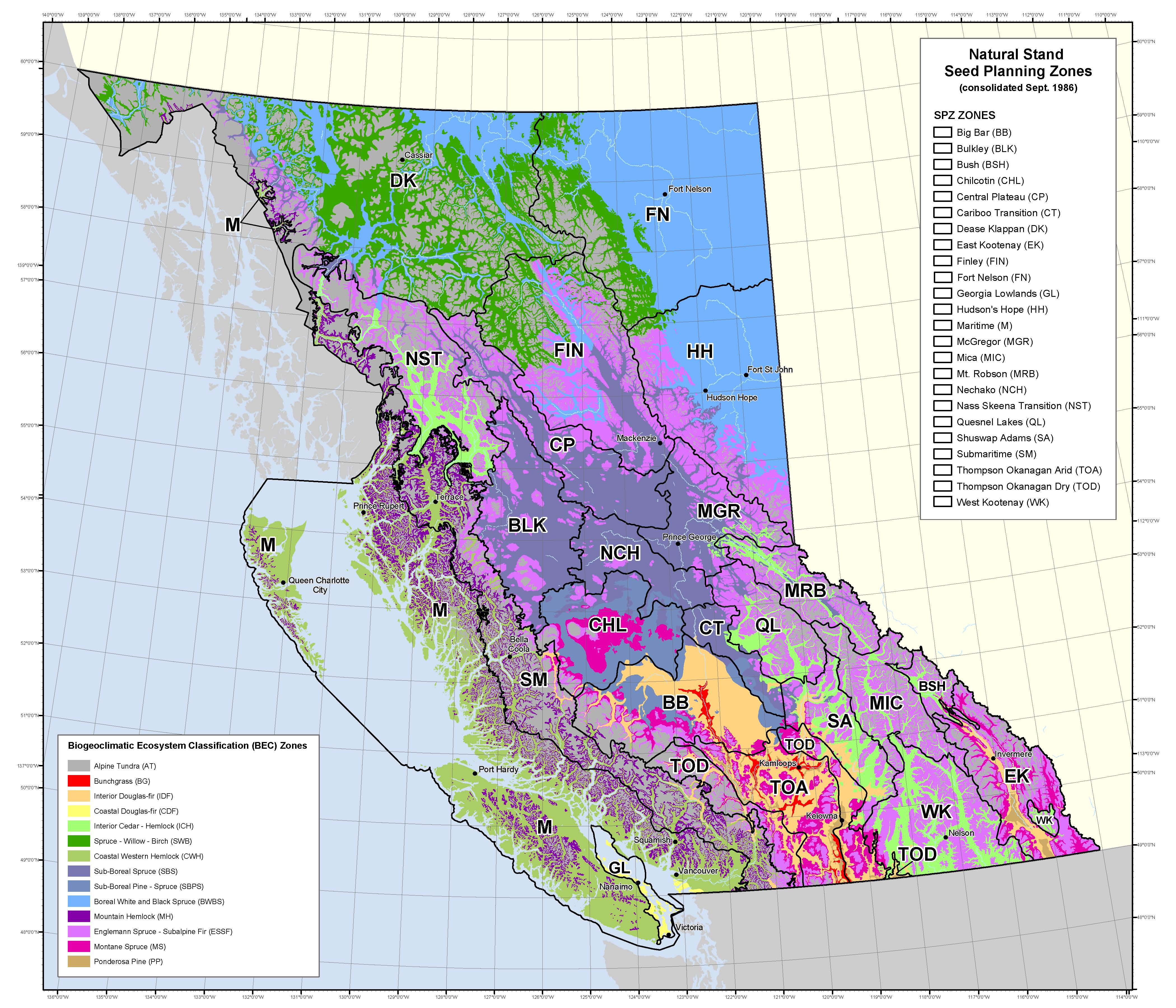 Industry California Map.Seed Planning Zone Maps Spatial Data Province Of British Columbia
