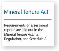 Requirements of assessment reports are laid out in the Mineral Tenure Act, its Regulation, and Schedule A