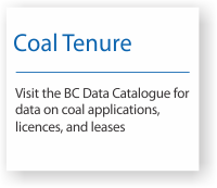 Coal license and lease information on the BC Data Catalogue