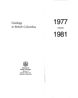 Geology in British Columbia 1976-1981